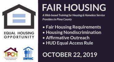 صورة التدريب التفصيلية: Fair Housing - October 22، 2019. الأغطية: متطلبات الإسكان العادل ، عدم التمييز في الإسكان ، التواصل الإيجابي ، قاعدة الوصول المتساوي HUD