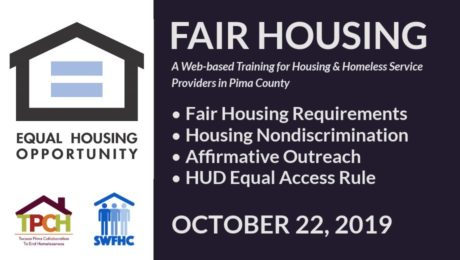 Training Detail Image: Fair Housing - October 22, 2019. Covers: Fair Housing Requirements, Housing Nondiscrimination, Affirmative Outreach, HUD Equal Access Rule